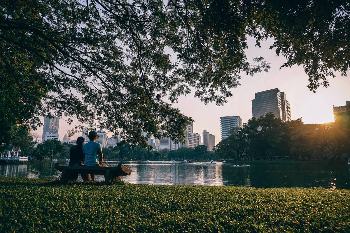עיר ירוקה ליד האגם - תכנון ירוק